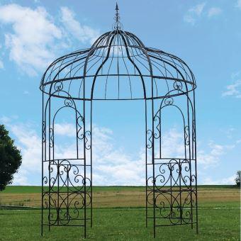 Grande Tonnelle fer jardin gloriette fer jardin pergola fer jardin ø215 cm  ronde marron