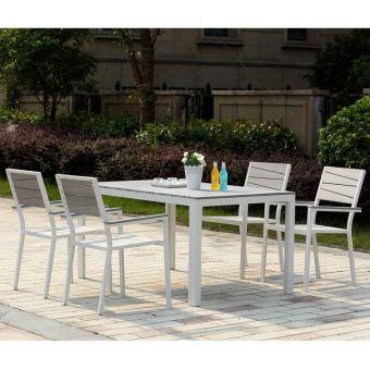 Paris prix - salon de jardin en aluminium 6 places gris clair ...
