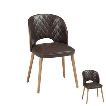 duo de chaises simili cuir marron jutus achat prix fnac - Chaise Simili Cuir