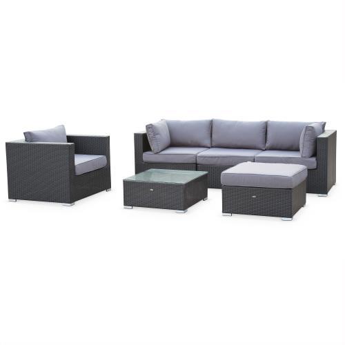 Salon de jardin en résine tressée - Caligari - Noir Coussins Gris - 5 places - 1 fauteuil 1 fauteuil sans accoudoir 1 pouf 2 fauteuils d'angle une table basse