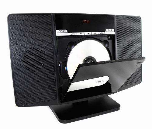 Lit formats CD/MP3/CD-R/CD-RW, 2x20 Watts, lecteur CD charge frontal, écran LED, port USB 2.0, port carte mémoire SD/MMC, radio FM, télécommande incluse, alimentation par cordon, pied amovible, accroches murales. 350 x 240 x 140 cm.