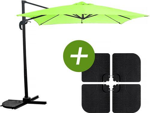 parasol jardin déporté soleil - carré - 2.5 x 2.5 m - vert + dalles à lester incluses