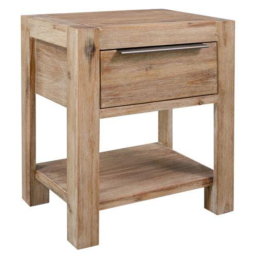 Table de chevet avec tiroir 40x30x48 cm Bois d'acacia massif