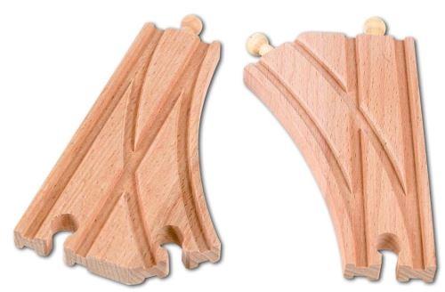 Un lot de 2 aiguillages en bois - accessoire circuit train en bois - jouet en bois