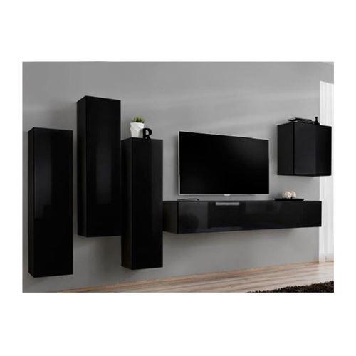 Ensemble meuble salon SWITCH III design, coloris noir brillant.