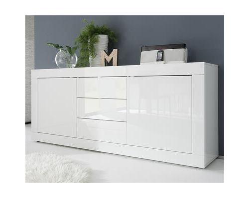 Buffet bahut blanc brillant laqué 2 portes 3 tiroirs design FELINO - Blanc - L 210 x P 43 x H 86 cm