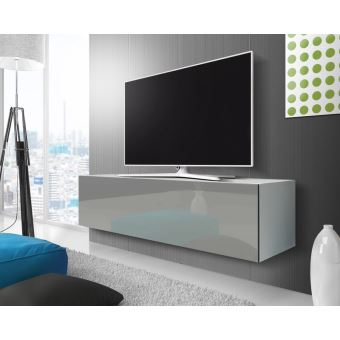 Point Meuble Tv Suspendu 140 Cm Blanc Mat Gris Brillant