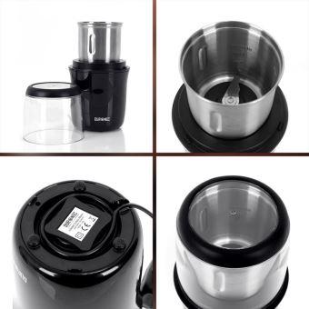75g Broyeur à épices//graines // céréales//herbes // fruits à coques avec lames en inox Meule en inox de 75 g de capacité Duronic CG250 Moulin à café électrique de 250W