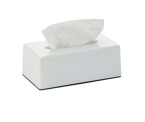Boîte à Mouchoirs Rectangulaire en Plastique Blanc