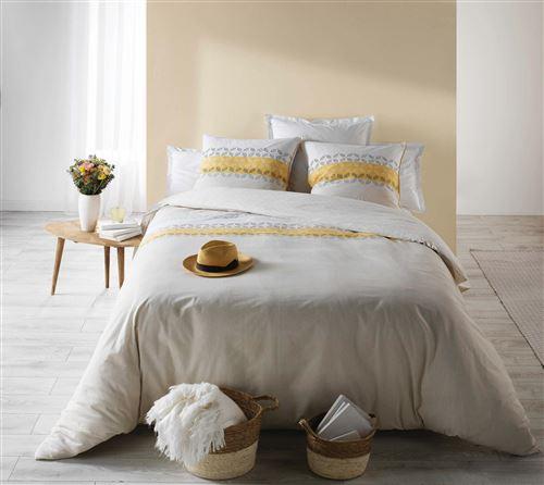Parure de lit coton Sofia jaune - 240x260cm