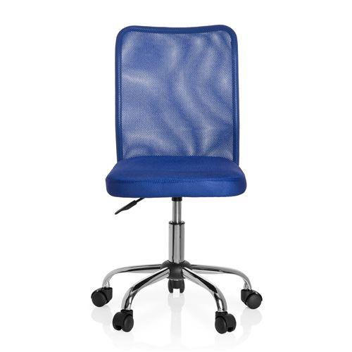 Chaise de bureau pour enfant Siège pivotant KIDDY NET tissu maille bleu hjh OFFICE