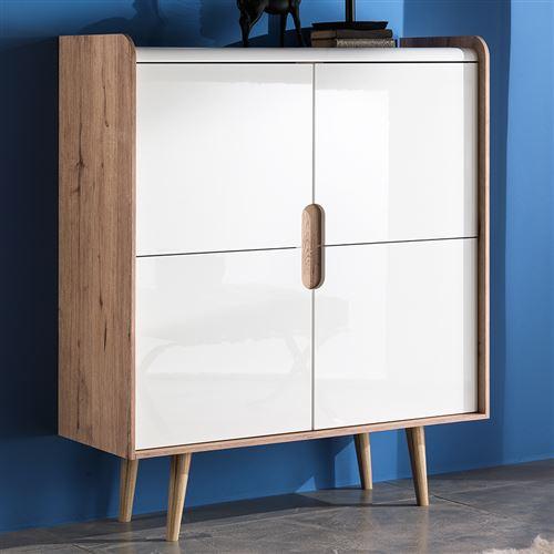 Buffet haut scandinave blanc et couleur chêne KABALIS - L 100 x P 40 x H 120 cm