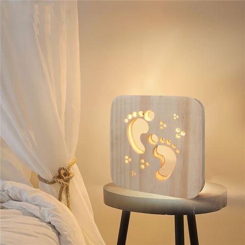 Creative Craft Décoration Lampe en bois Led Lumière Veilleuse Lampe de table_onaeatza444