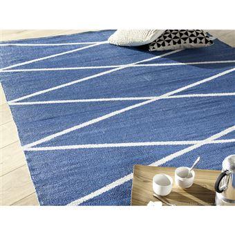 Tapis Plastique Tisse Main Rendu Coton Motif Losange Bleu 160x230cm Flatad