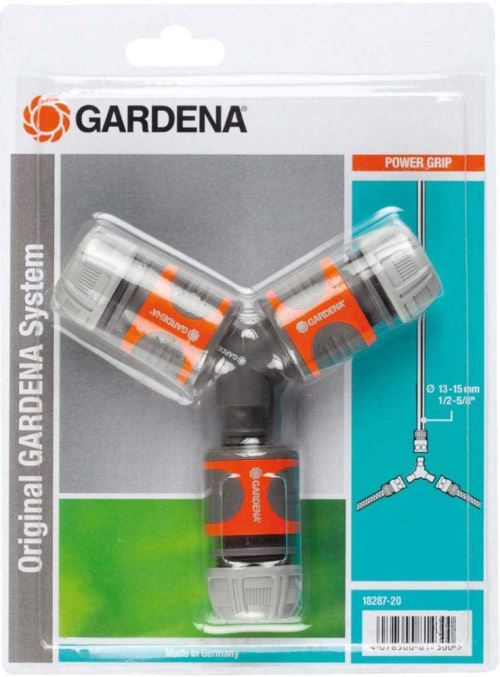 Nécessaire de Dérivation en Y pour Arrosage 13 mm (1/2)/15 mm (5/8) de Gardena : Raccord de Dérivation pour une Distribution Simple (18287-20)