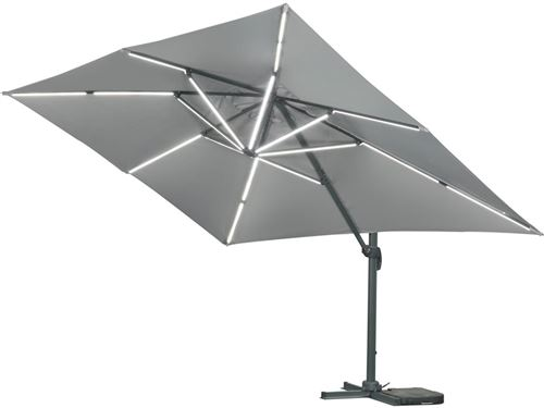 parasol jardin déporté led alu sun 3 luxe carré 3 x 3 m