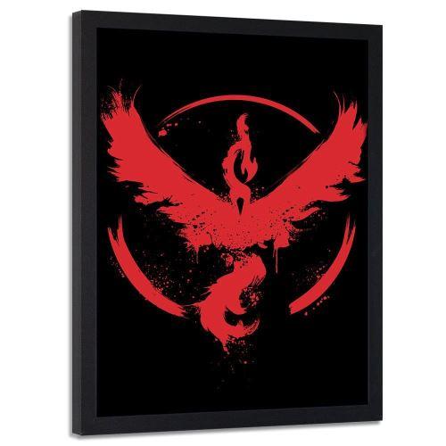 Feeby Image encadrée Tableau murale moderne cadre noir, Phénix rouge 50x70 cm