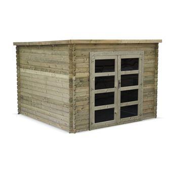 Abri de jardin contemporain 3 x 3 m traité autoclave classe 3, TIGNES en  bois FSC de 9,3 m², structure en madriers 28 mm