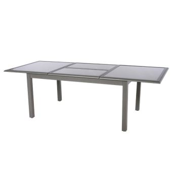 Table extensible rectangulaire Azua verre 6/10 places Taupe ...