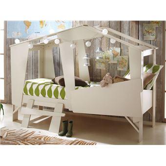 lit cabane 90x200cm beige sommier inclus robin lit pour enfant achat prix fnac - Lit Enfant Cabane