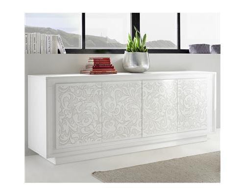 bahut blanc laqué mat avec motifs fleurs BELLADONE - Blanc - L 207 x P 50 x H 80 cm