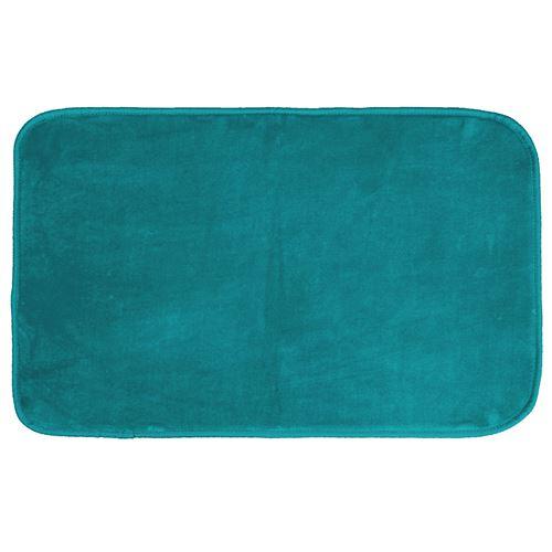 Tapis rectangle 50 x 80 cm velours uni louna Bleu lagon