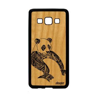 Coque Silicone Samsung Galaxy A3 En Bois Panda Noir Et Blanc