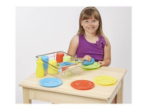 Melissa & Doug Let's Play House! - Lavage et séchage d'ensemble de vaisselle - bleu, jaune, rouge, vert