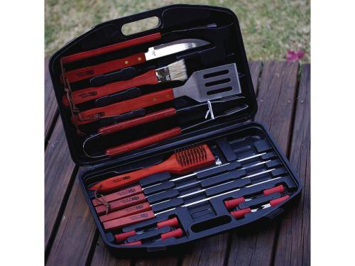 accessoire barbecue barbuc 3 - 18 pièces - rouge/noir