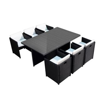 Lynco Salon De Jardin Encastrable 6 Places Mobilier De