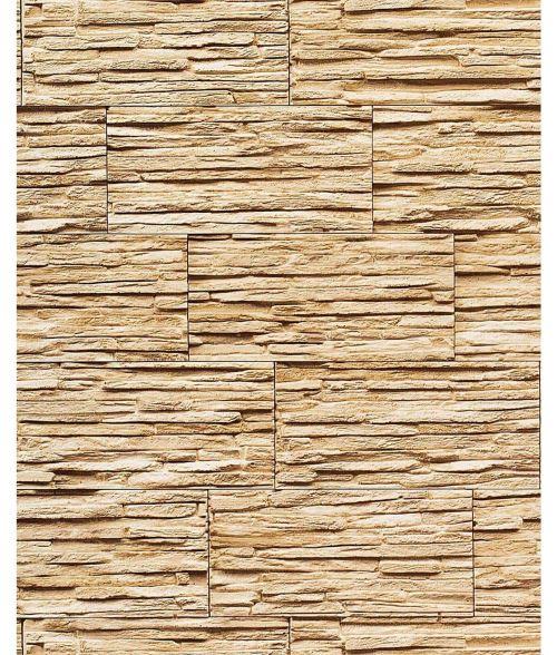 Papier peint quartzite ardoise en relief 1003-31 vinyle très résistant aspect pierre ocre brun clair | 5,33 m2
