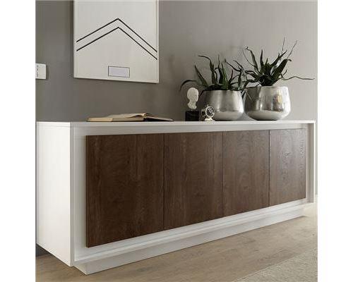 Buffet blanc mat et bois foncé ERINE 6 - L 207 x P 50 x H 80 cm