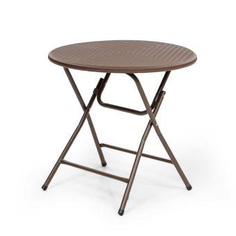 Blumfeldt Burgos Round Table de jardin ronde pliable Ø 80cm - 2 à 4  personnes - design poly rotin marron - acier