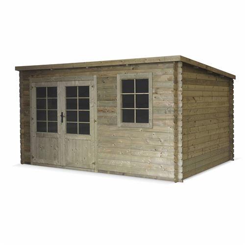 Abri de jardin contemporain 3 x 4 m traité autoclave classe 3, MEGEVE en bois FSC de 12,8 m², structure en madriers 28 mm, sapin du nord