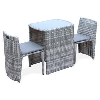 Salon de jardin encastrable 2 places en r sine tress e doppio alice 39 s garden mobilier de - Salon de jardin encastrable places ...