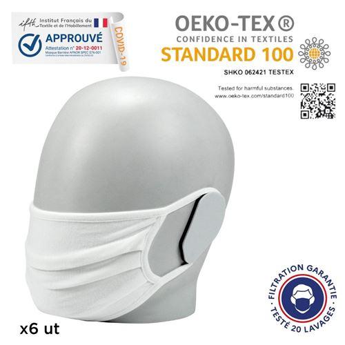 Mobilis Lot de 6 Masques UNS Cat.1 Grand Public Filtration Supérieure à 90% 20 Lavages OEKO-TEX Standard 100 Blanc