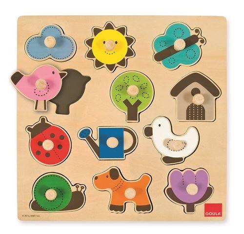 Puzzle en bois a boutons - campagne & animaux 12 pieces - encastrement