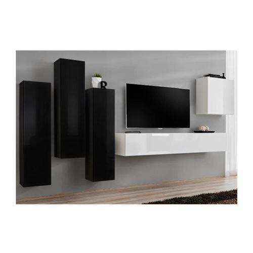 Ensemble meuble salon SWITCH III design, coloris blanc et noir brillant.