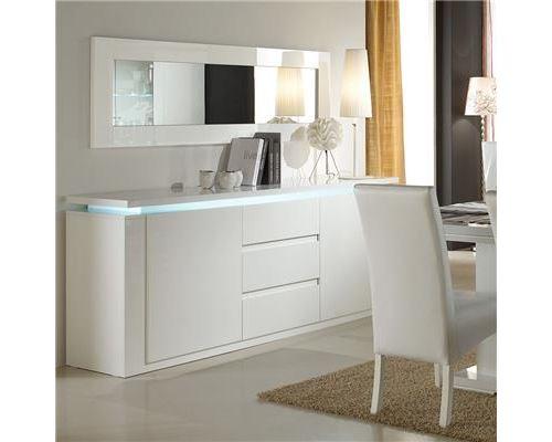 Buffet bahut lumineux blanc laqué 2 portes 3 tiroirs design GODWIN - Blanc - L 210 x P 47 x H 85 cm