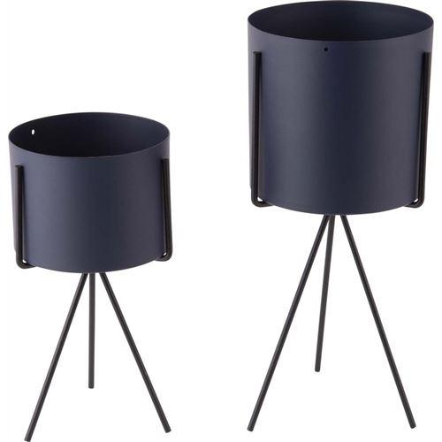 Pt' - Set de 2 supports à plantes ronds Pedestal XL Bleu foncé
