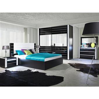 Ensemble design pour chambre à coucher LINA noir. Lit + 2 chevets ...