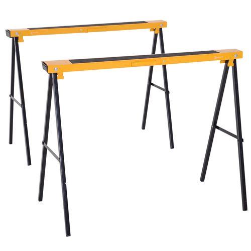 Lot de 2 tréteaux pliables compactes poignée transport dim. 100L x 50l x 76H cm surface antidérapante métal noir jaune