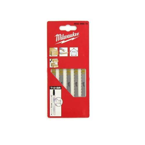 Pack de 5 lames scie sauteuse MILWAUKEE mélaminé 75 mm denture de 2,5 mm 4932346079