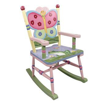 Chaise A Bascule Siege Fauteuil Bois Decor Chambre Enfant Bebe Fille W 7499A