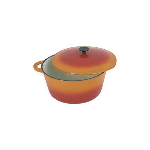 Crealys Grand Chef Cocotte Ronde En Fonte Dacier Emaillee - O 21 Cm - 2,5 L - Orange - Tous Feux Dont Induction