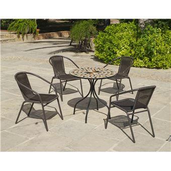 Hevea - Salon de jardin table ronde mosaïque Albir Brasil ...