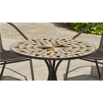 Hevea - Salon de jardin table ronde mosaïque Albir Brasil - Mobilier ...