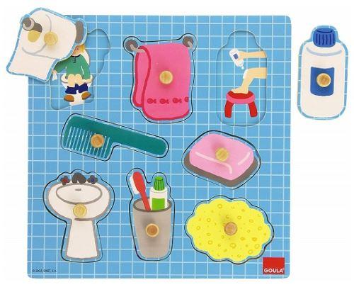 Puzzle encastrement en bois salle de bain - 8 pieces a boutons - jeu educatif