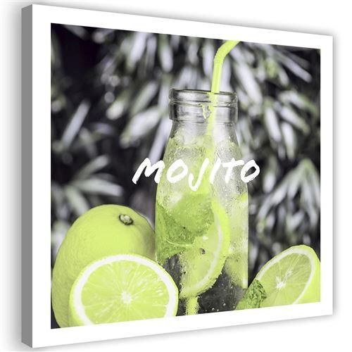 Tableau Impression moderne sur toile Image Cadre déco Canevas Boisson Citrons 60x60