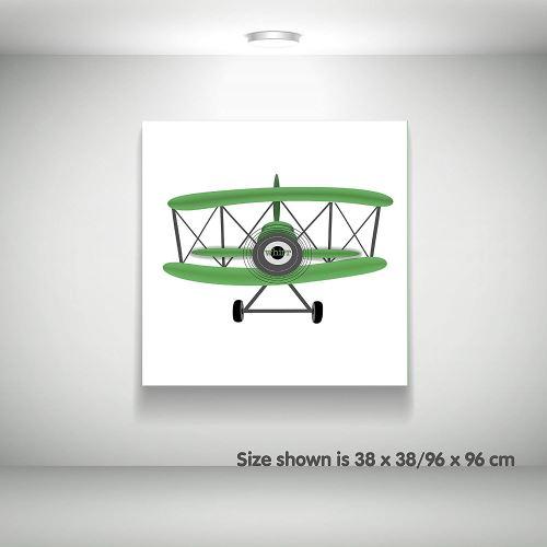 Feel Good Art Toile sur Cadre Art Mural de Style Moderne/Illustratif Avion de Sport d'Époque Vert/Blanc 51 x 51 x 4 cm Grand
